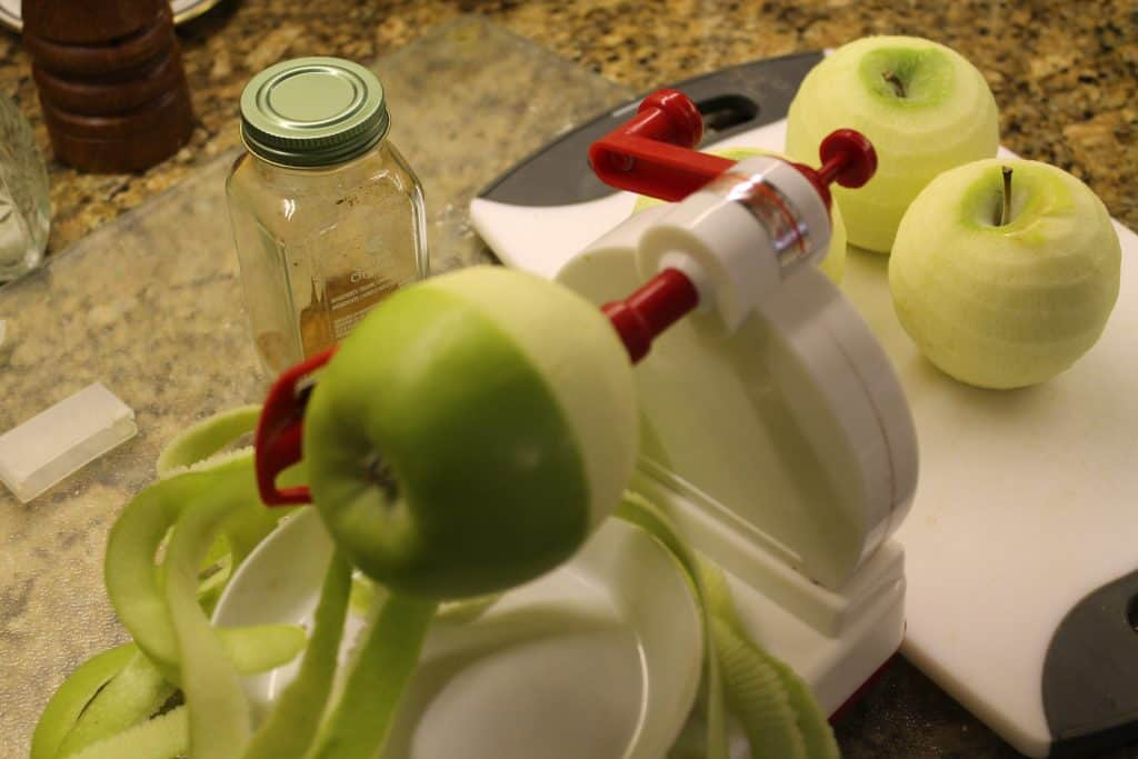 apple on a apple peeler