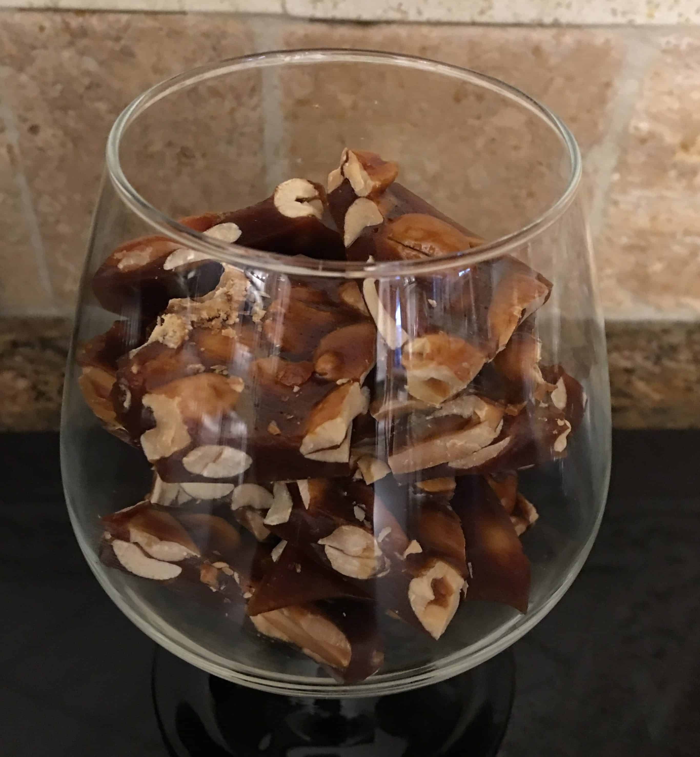 peanut brittle in a glass