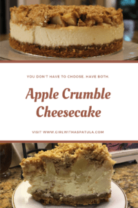 Apple Crumble Cheesecake on a plate PIN