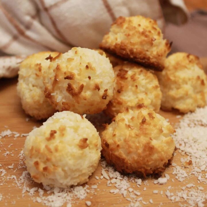 coconut macaroons on a cutting board