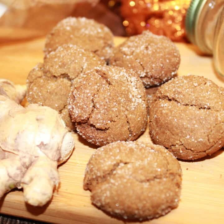 Ginger Snap Cookies on a cutting board