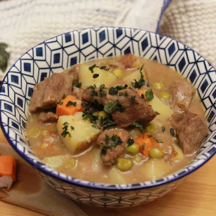 Beef Stew in a soup bowl