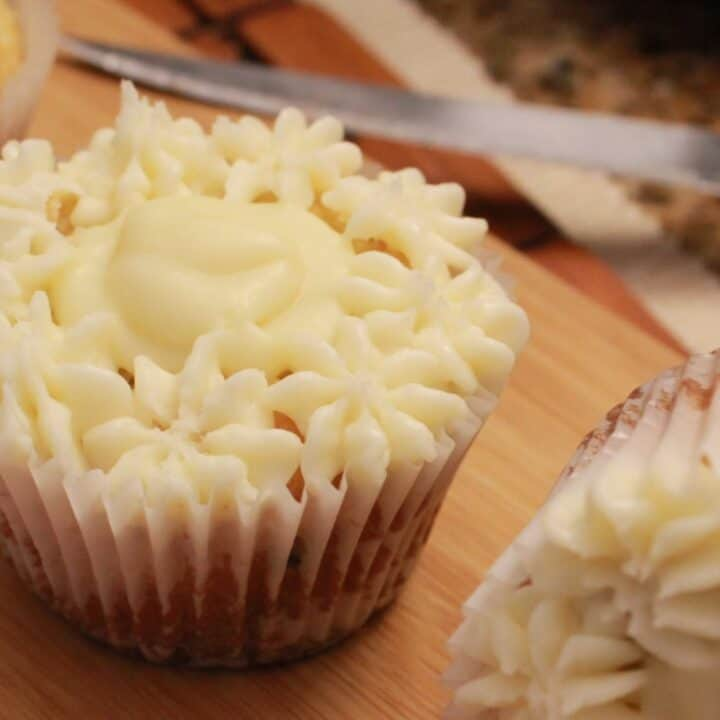 Cupcakes on a cutting board