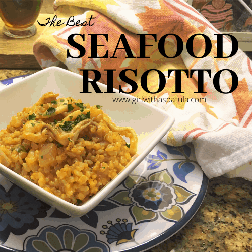 Seafood Risotto in a white bowl