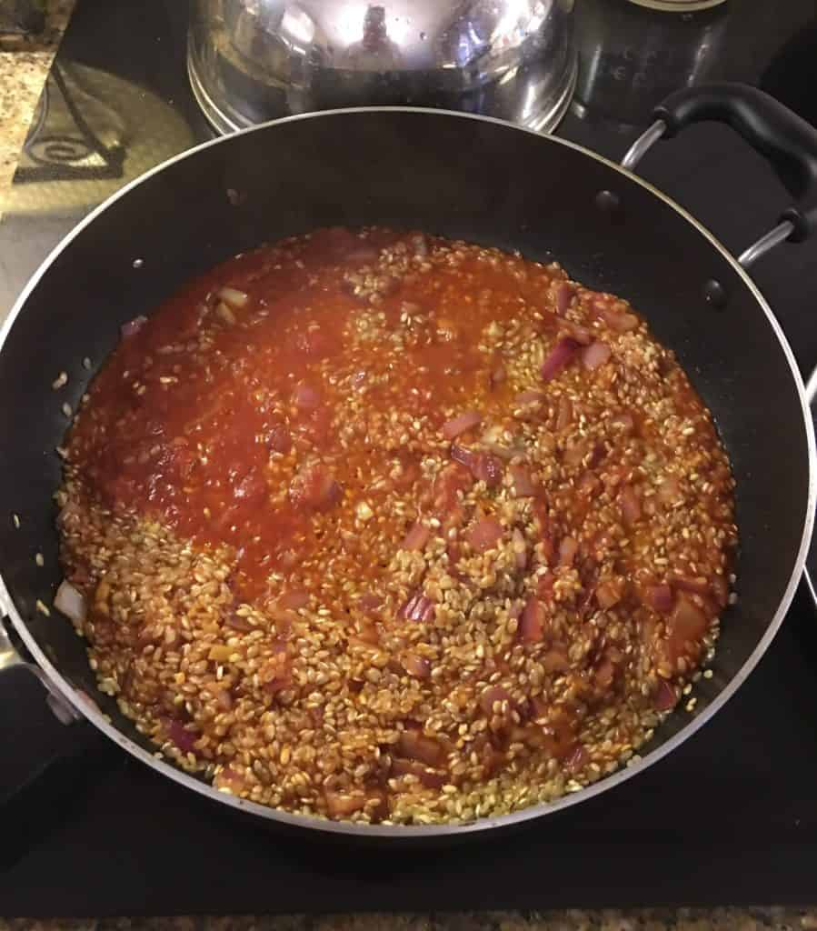 Risotto with sauce in a pan
