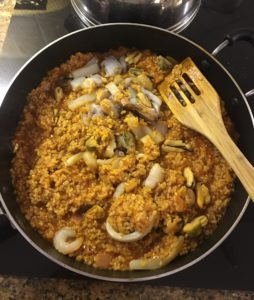 Risotto in a pan with seafood