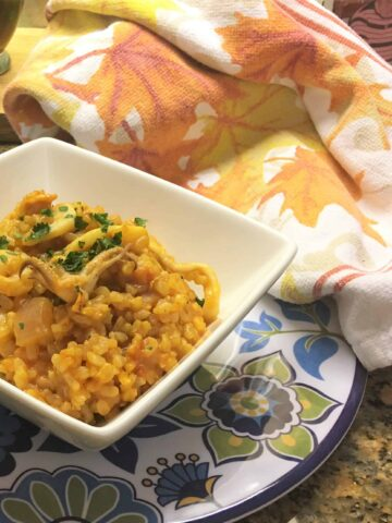 Delicious Seefood Risotto in a bowl