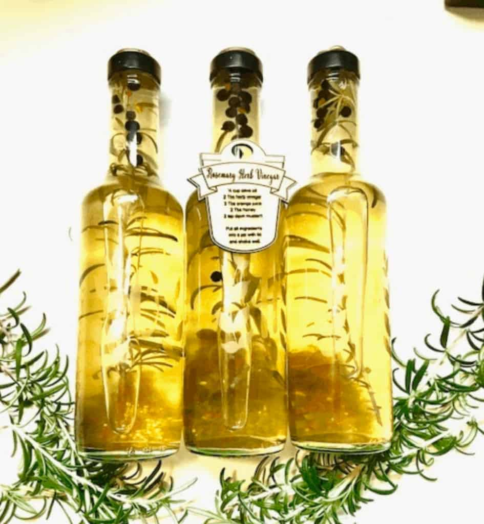 Herb Etched Glass Bottle
