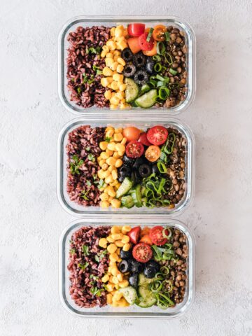 plant-based diet salads in three containers