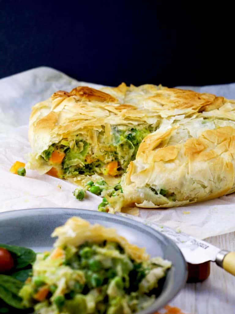 pot pie made with phyllo dough on a plate
