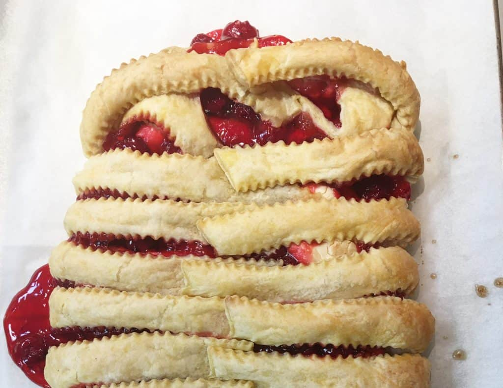 Cherry Cream Cheese Strudel on a baking sheet picture
