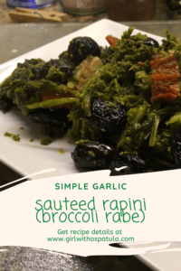 Sauteed Rapini in a plate PIN for pinterest