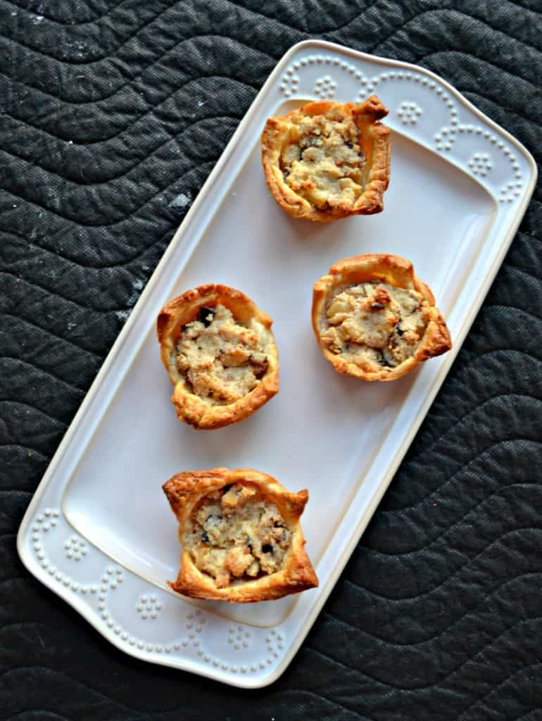 puff pastry creamy mushroom cups on a plate