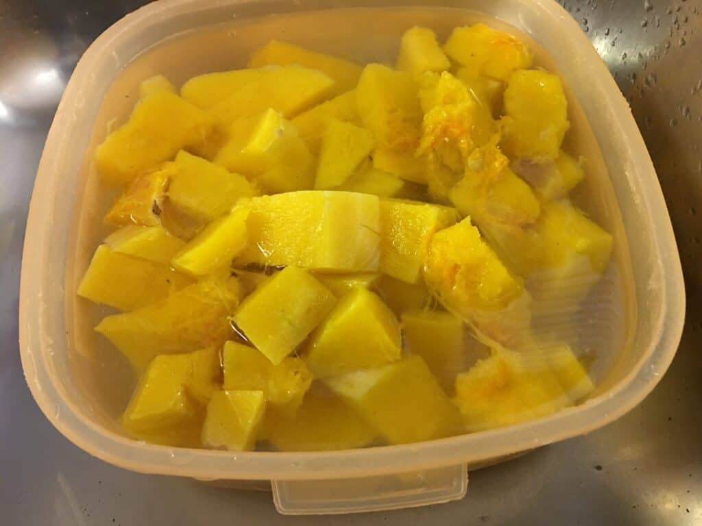 butternut squash soup in a container