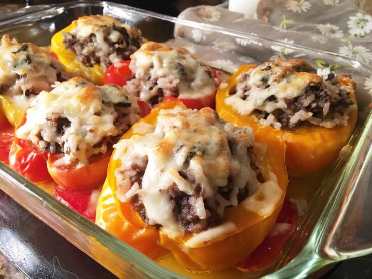 Baked Stuffed Peppers in a glass baking pan