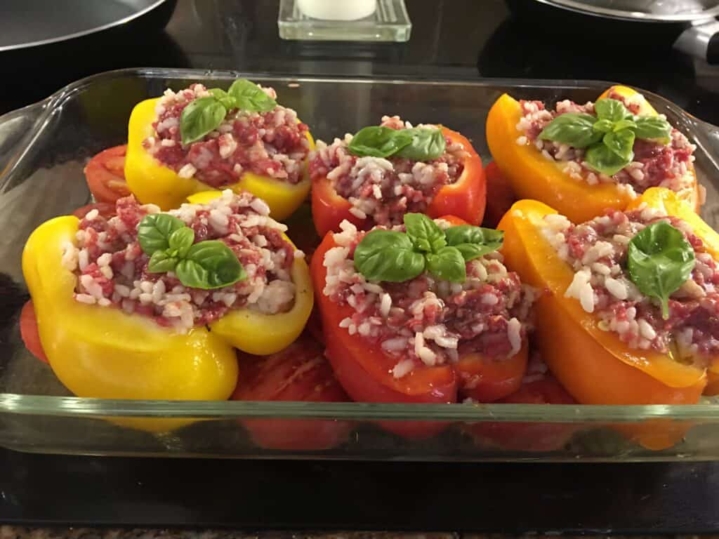 Stuffed Bell Peppers in a baking dish