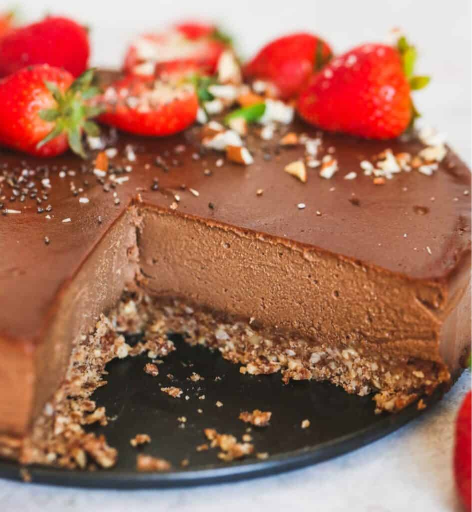 Chocolate Vegan Cheesecake on a serving tray