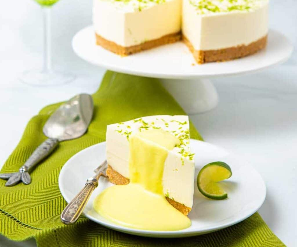 Gin and Tonic Cheesecake on a serving tray