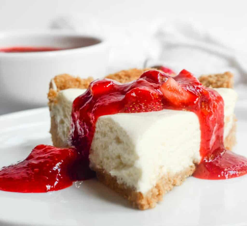strawberry cheesecake in a plate