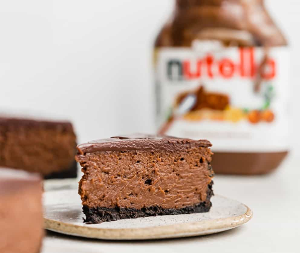 Nutella Cheesecake on a serving tray