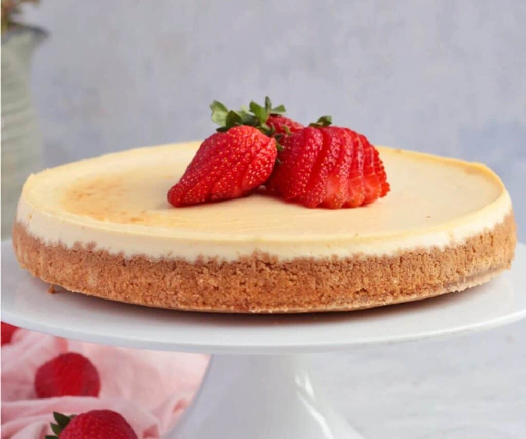 Lemon Ricotta Cheesecake in a plate