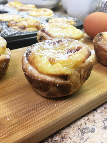 Portuguese Pastries on a cutting board