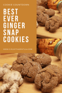 Ginger snap cookies on a wooden cutting board PIN