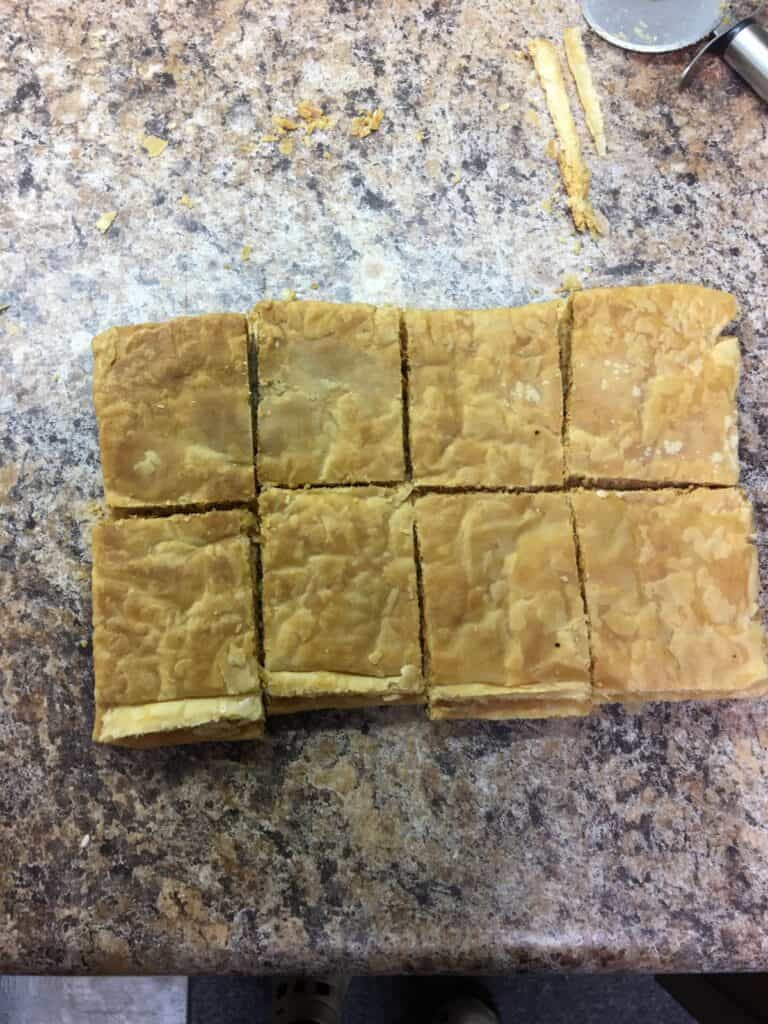 Evenly cut puff pastry