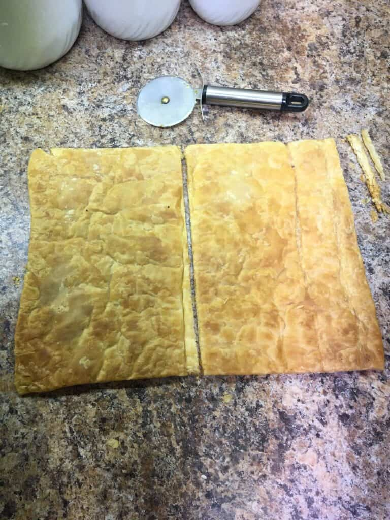 puff pastry cut in two