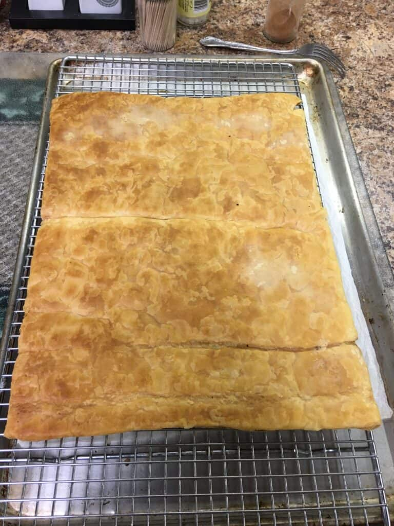 Puff pastry on a cooling rack