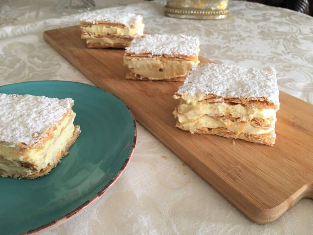 Mille Feuille on a plate and on a cutting board
