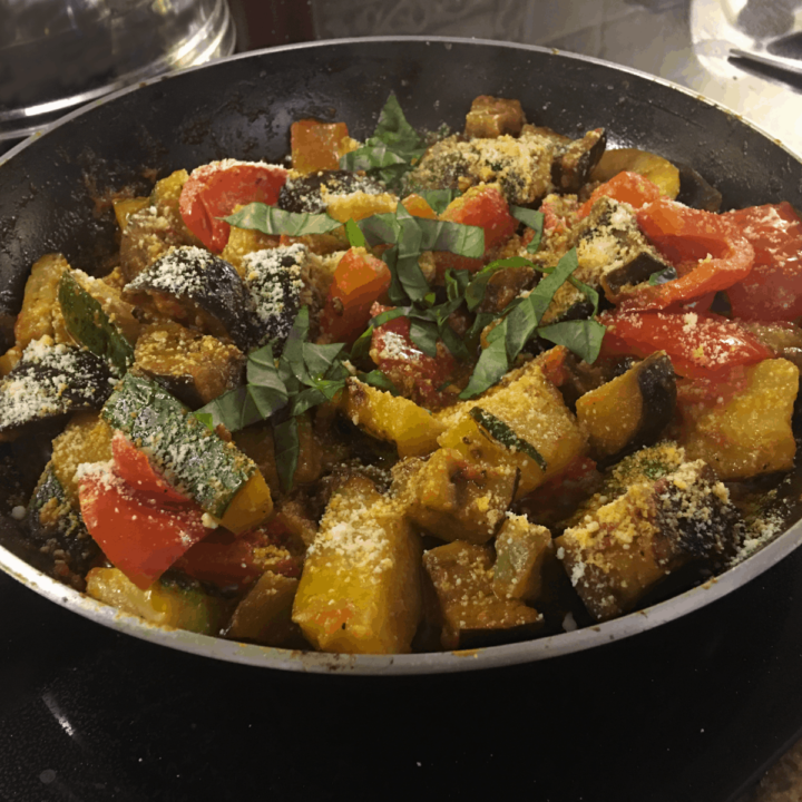 eggplant and zucchini in a frypan