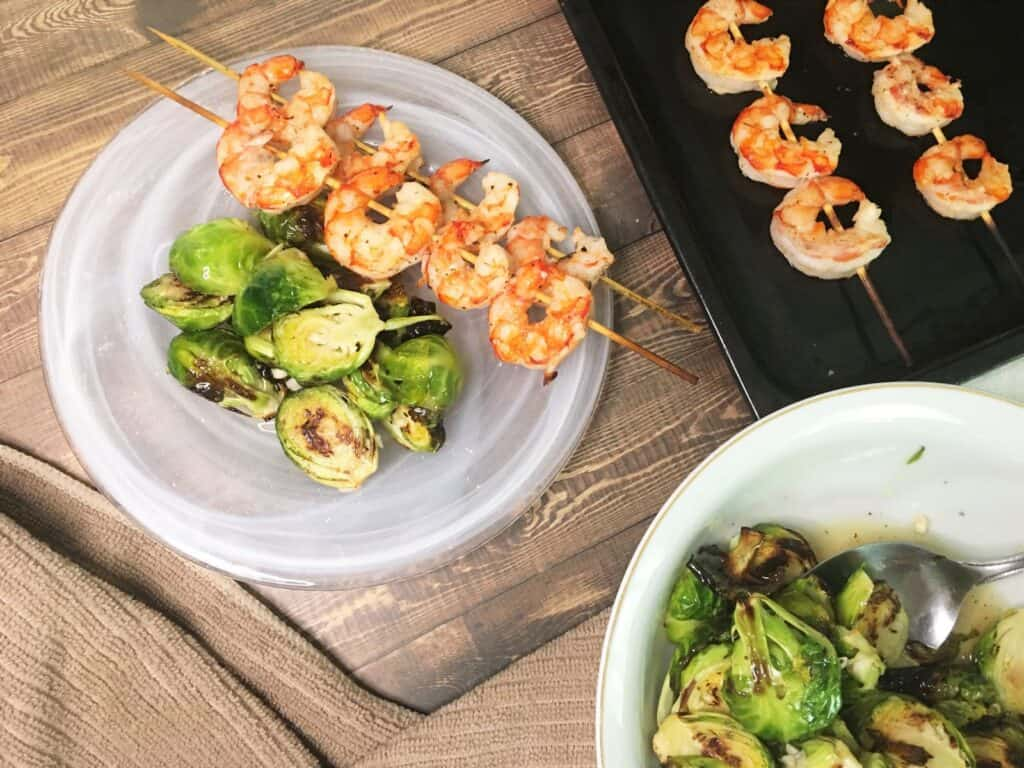 plated grilled shrimp with brussel sprouts