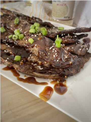 Asian Short Ribs in a white plate